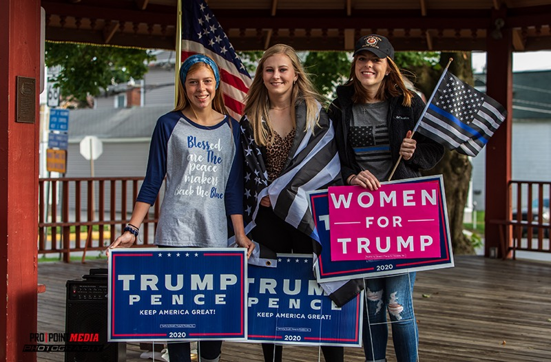 Katelyn Bauer, Kyleigh Craddock, and Haley Bauer show their support for President Trump and Law Enforcement Officers. Courtesy of Dave Cyphert of ProPoint Media.