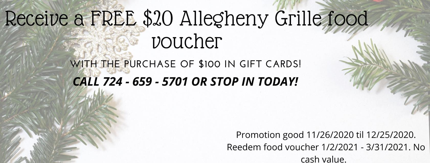 Allegheny Grill Gift card promo
