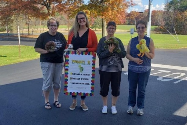 Brookville 1 Head Start Staff with Twiggles T's friends. Pictured left to right: Autumn Smith, Theresa Pearce, Cora Sharp, and Diane Ananea,