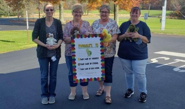 Brookville 2 Head Start Staff with Twiggles T's friends. Pictured left to right: Korribna Slywczuk, Diana Minich, Colleen Kennedy, and Becky Fike.