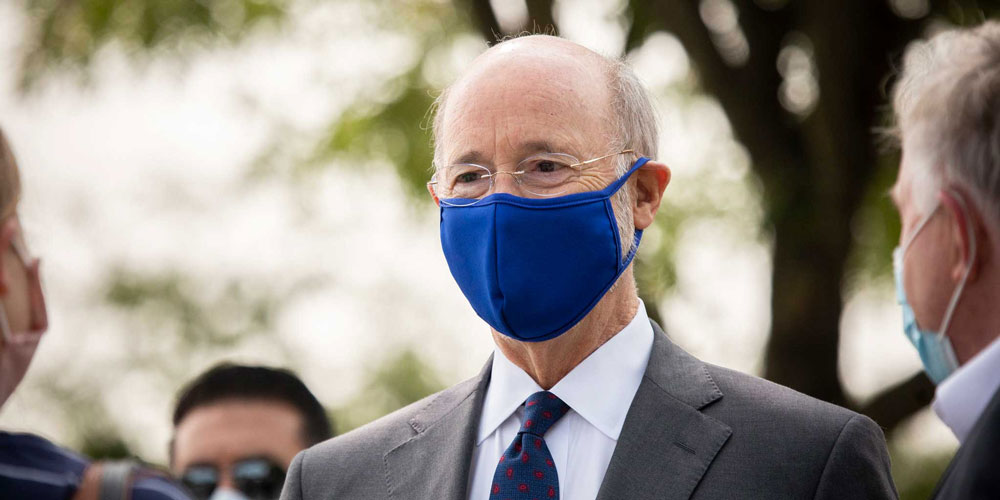 Governor-Tom-Wolf-outside-wearing-a-blue-mask