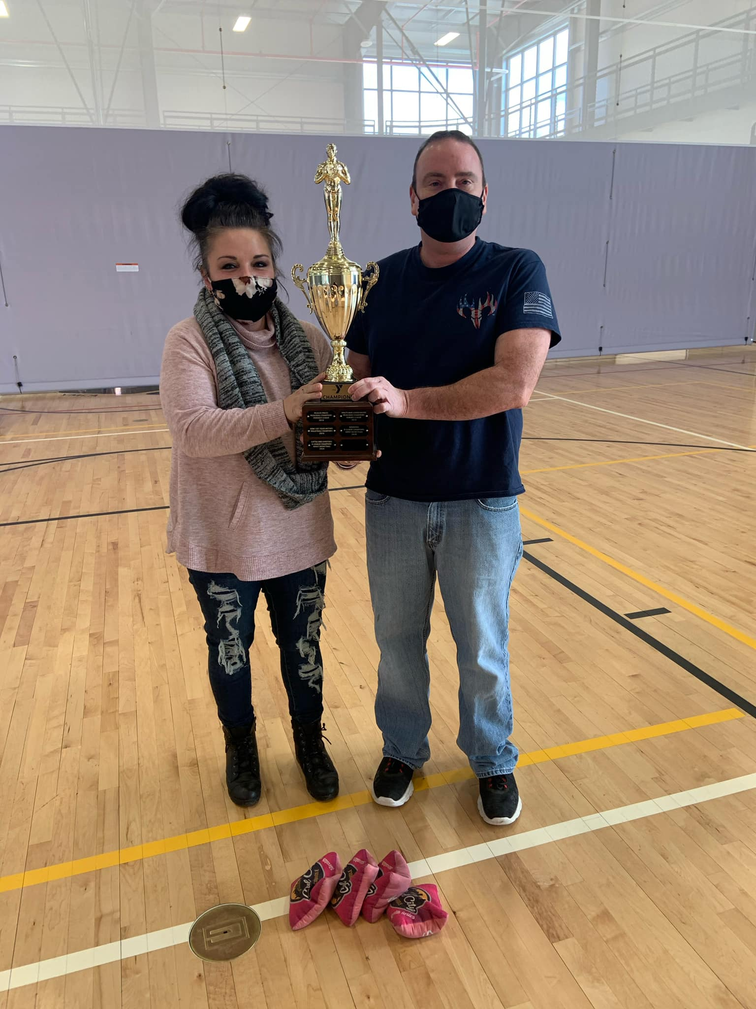 Eric and Heather were Cornhole Tournament Champions at the YMCA! Courtesy of Clarion County YMCA.