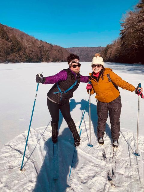 Aubrey Griffin and Tara Carlson enjoying cross country skiing down the Clarion River Sunday morning! Submitted by Elizabeth Griffin.