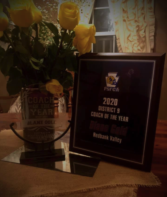 Blane Gold received 2020 Coach of the Year and recently received his awards. Courtesy of Jennifer Gold.