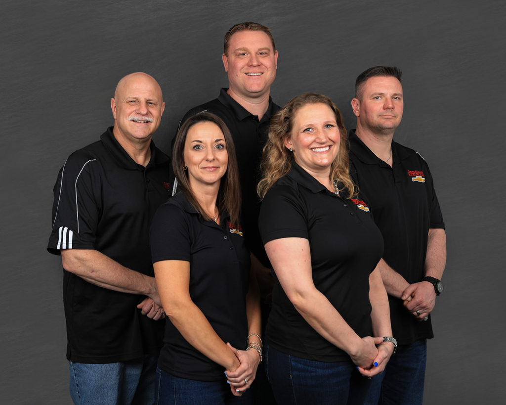 Redbank Chevrolet Sales Team: Back, left to right: Ben Kundick, Jr., Jody Britton,  and Wylie Miller. Front, left to right: Alisha Kessler and Kristen Hindman.