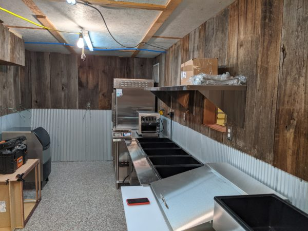 The in-progress kitchen at the Bedrock location. More equipment will be installed as the weeks go on.