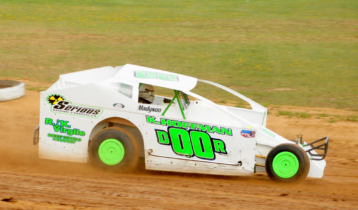 Kevin Hoffman scored his first career 358 modified win at Tri-CIty Sunday night. Photo by Rick Rarer.