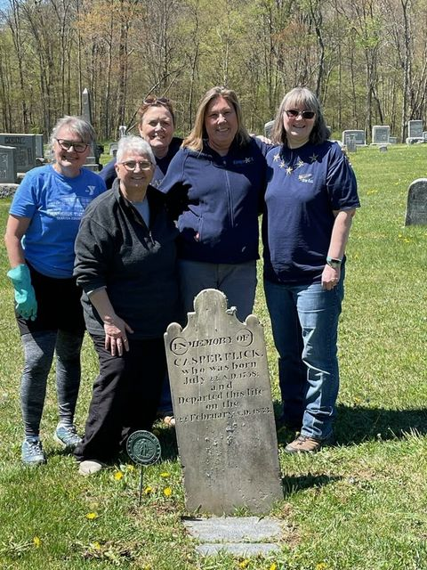 On May 1st those pictured cleaned 2 Revolutionary War Soldier headstones at Curllsville Cemetery and 6 at the Licking-Presbyterian Cemetery. Pictured: Lydia Crooks, Joan Kreibel (Clarion), Janet Stewart, Diane Grady (Butler), Kim Demor (Ohio), and John Casper Flick. Not pictured: Nancy and Fred Keen. Submitted by Noreen Allen Shirey.