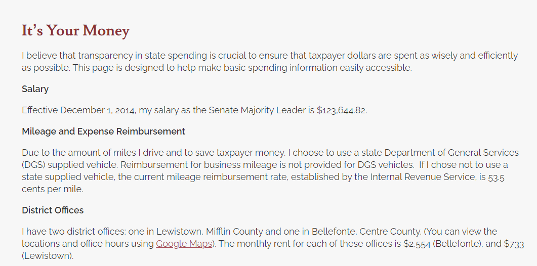 """A page on Senate President Pro Tempore Jake Corman's transparency website promises to """"make basic spending information easily accessible."""" The problem: The page hasn't been updated in over six years. From a screen capture of Sen. Jake Corman's website."""