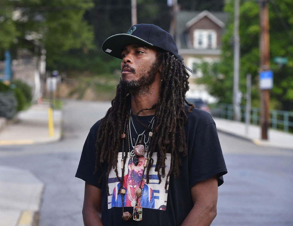 Frank Nitty, who helped lead Black Lives Matter activists on their pilgrimage from Milwaukee to Washington D.C. in August, on the day after Orsino V. Thurman was shot in the face by Terry Myers. Photo credit: Todd Berkey/The Tribune-Democrat.