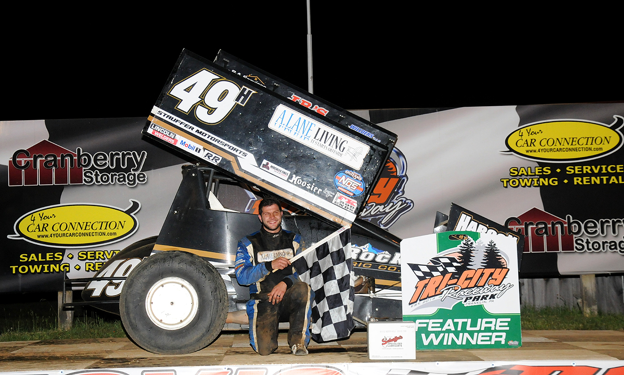 Bradley Howard scored his first career 410 win Sunday at Tri-City. Photo by Rick Rarer.