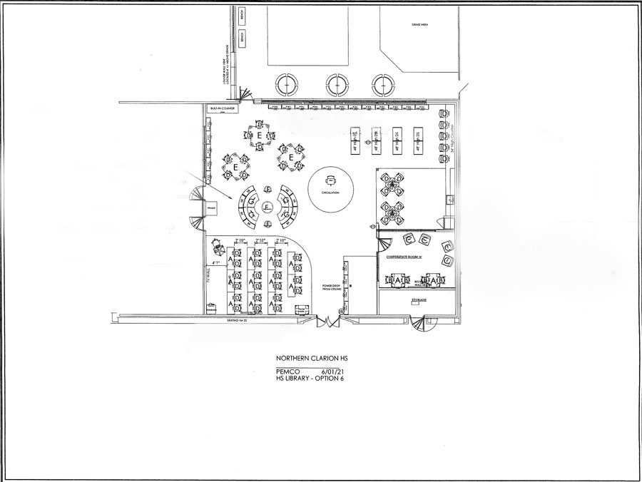 Floor plan for the new North Clarion High School Library.