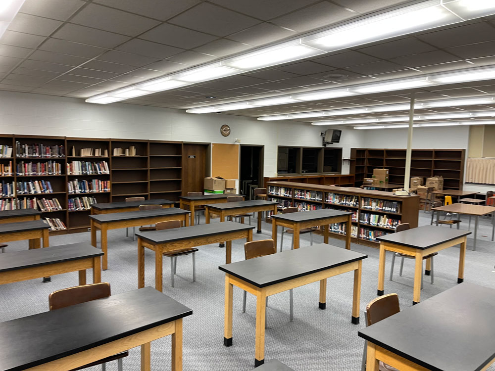 Classroom space set up in the North Clarion High School library during the COVID-19 pandemic.