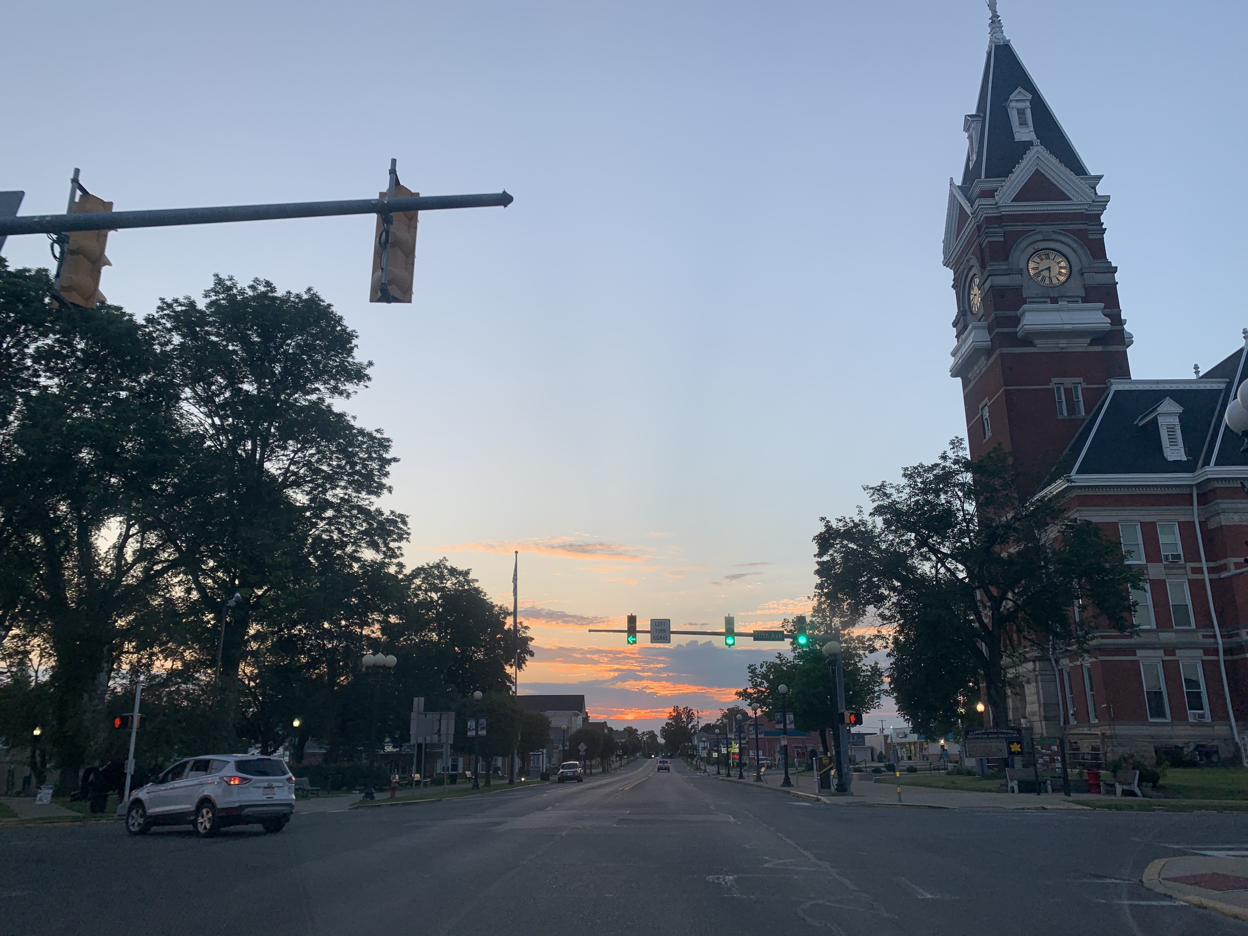 The Clarion County Courthouse majestically sits on the corner of 5th and Main in the early evening hours. Photo submitted by Alize Martinez-Sullenberger.