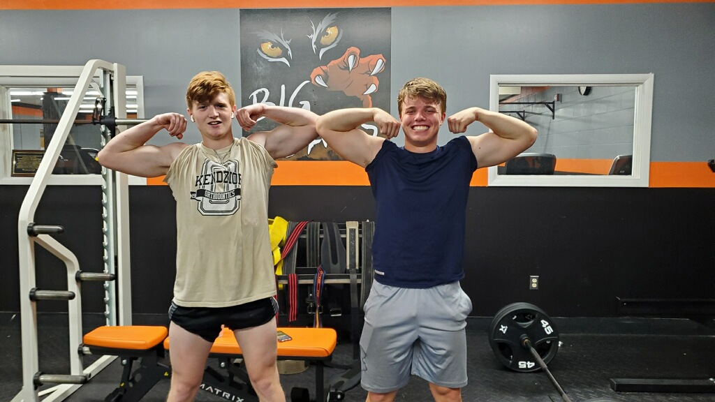 """Running Backs Breckin Rex and Noah Naser were the first two players to join the """"Big Cat Club"""" at Central Clarion's annual Lift-a-Thon, bench pressing, squating and deadlifting a total of 1,000 pounds or more. Photo submitted by Central Clarion Football."""