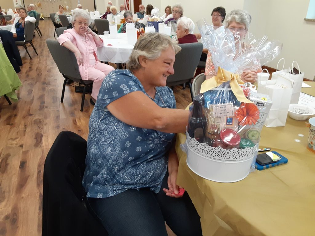 Patty Girt was one of the many door prize winners.